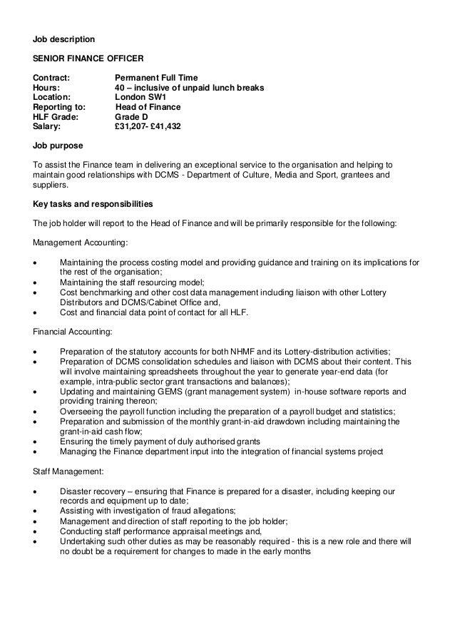 Resume CV Cover Letter. senior finance manager job description ...