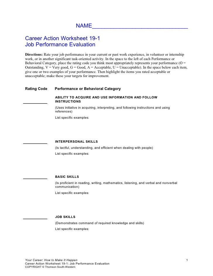 NAME_______________________________  Career Action Worksheet 19-1 Job Performance Evaluation Directions: Rate your job per...