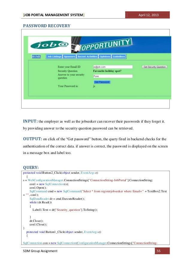 Job portal system doc executenonquerysdm group assignment 54 55 ccuart Choice Image