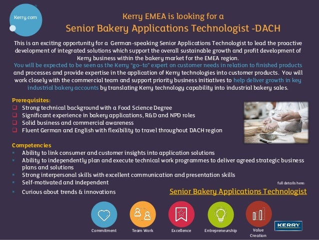 Job Post For Linked In Senior Bakery Applications Technologist Dach