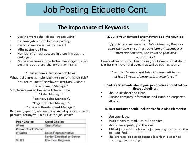 Job posting etiquette