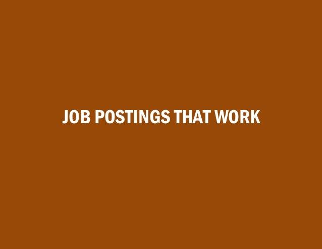 JOB POSTINGS THAT WORK