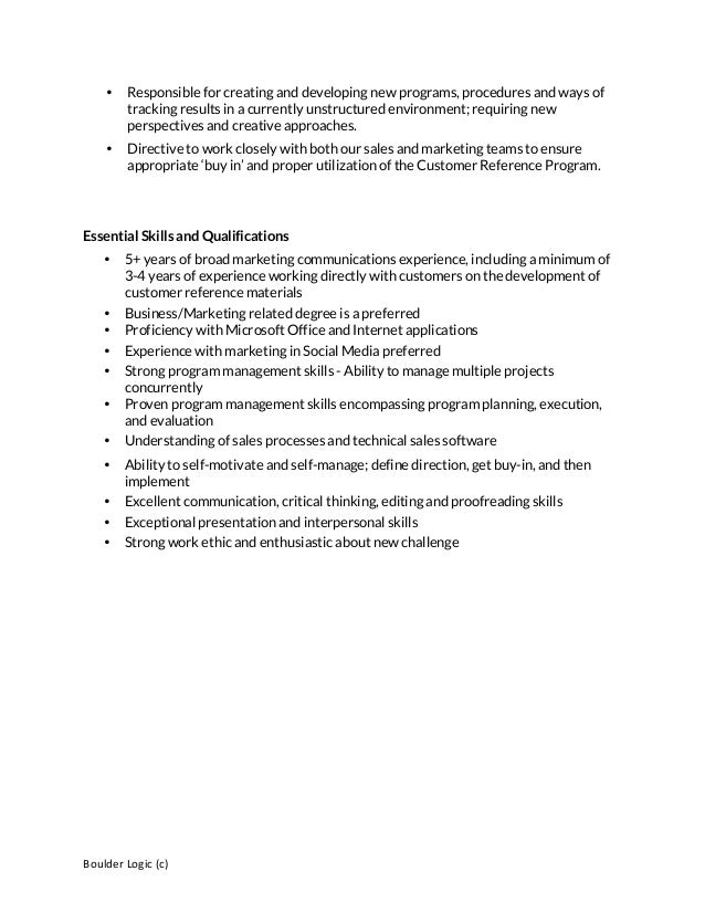 Customer Reference Manager Job posting template – Reference for Job Template