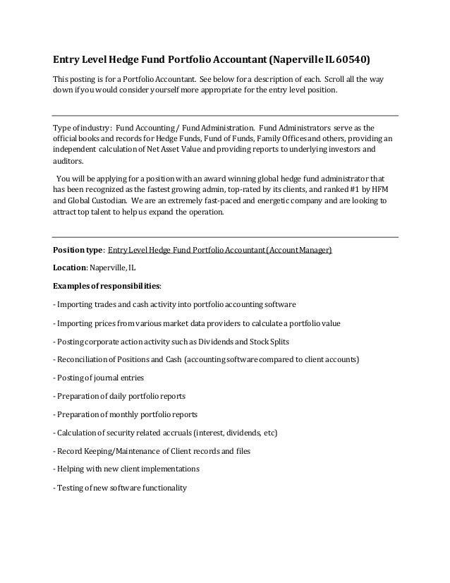 Entry Level Hedge Fund Portfolio Accountant