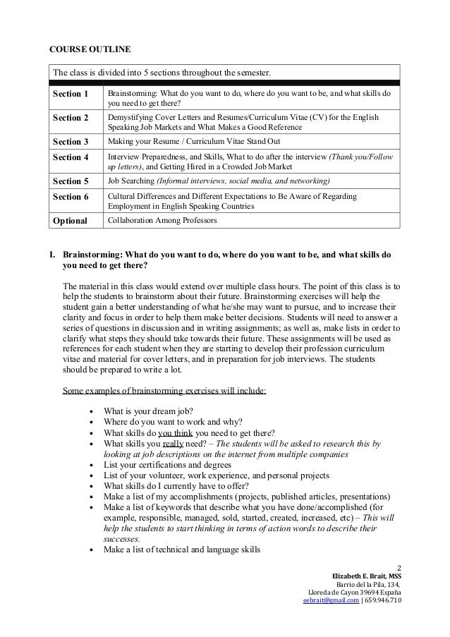 Job Preparation And Readiness In English Course Proposal