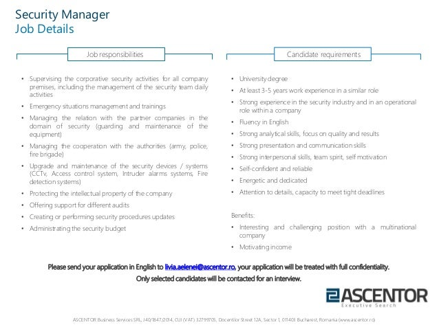 Security Manager Job Profile