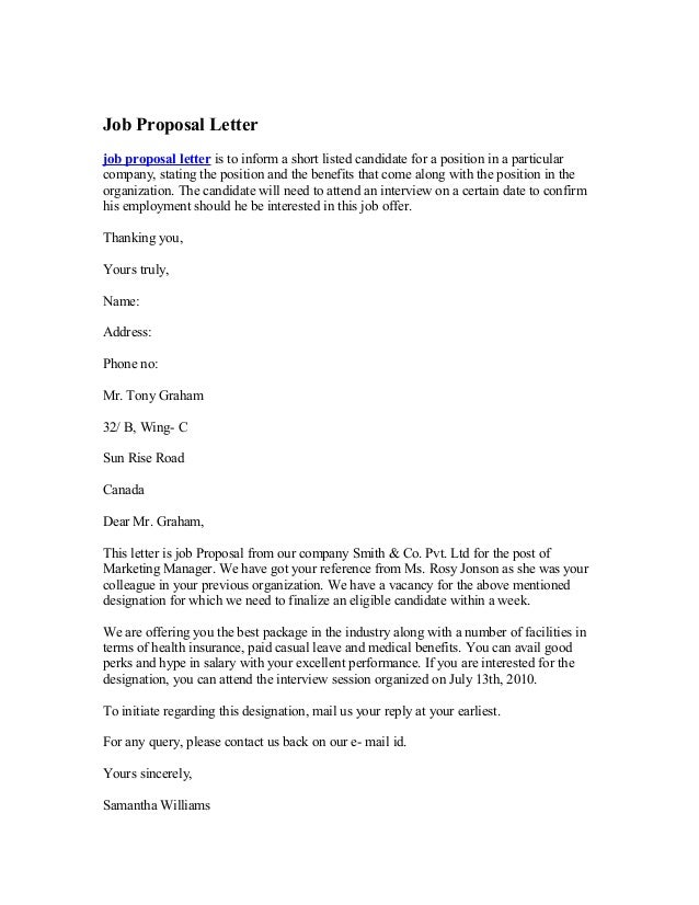 Job Proposal Letter Job Proposal Letter Is To Inform A Short Listed  Candidate For A Position  Bid Proposal Letter