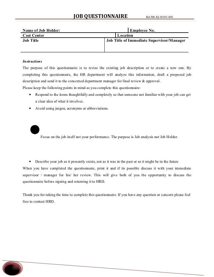 JOB QUESTIONNAIRE                                 Ref.MS-JQ-010/01-008    Name of Job Holder:                             ...