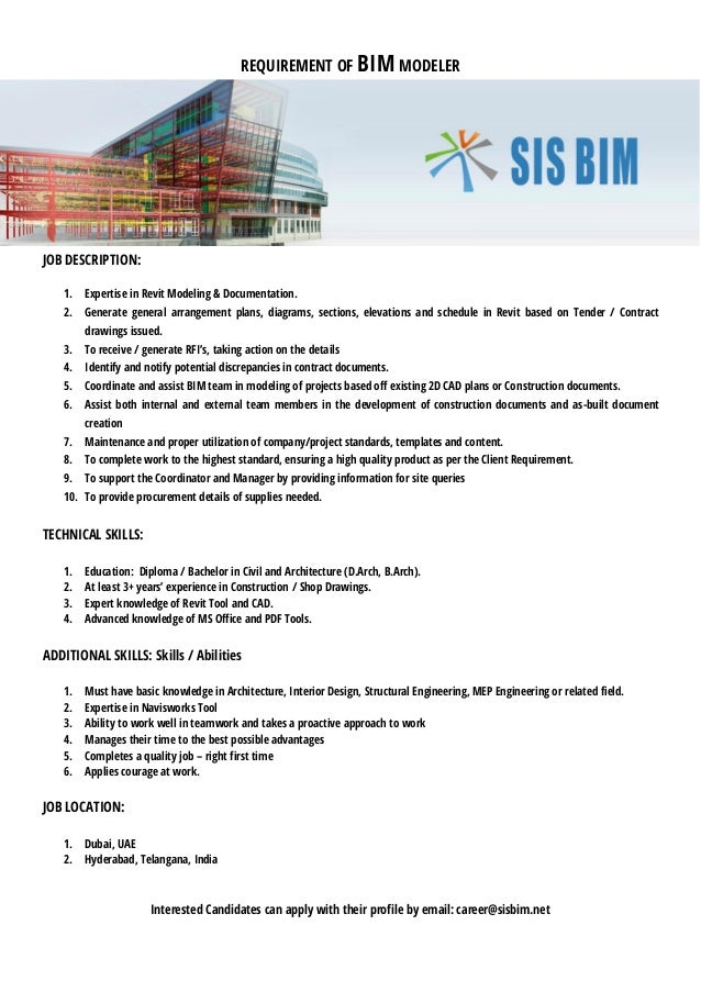 REQUIREMENT OF BIM MODELER