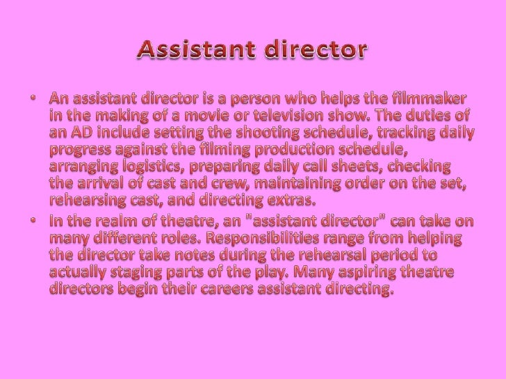 Assistant Director ...