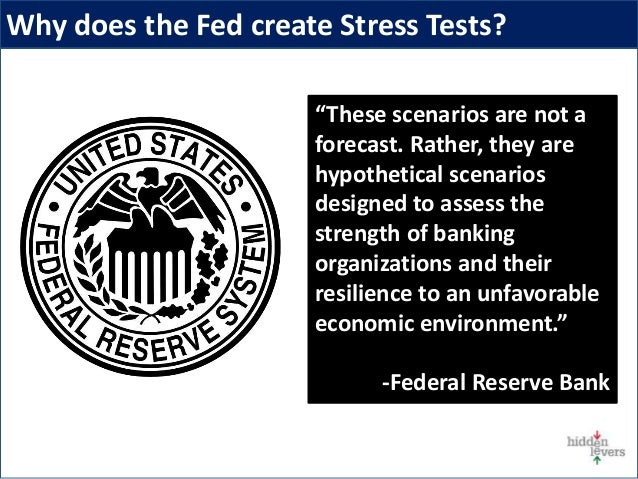 """Why does the Fed create Stress Tests? """"These scenarios are not a forecast. Rather, they are hypothetical scenarios designe..."""