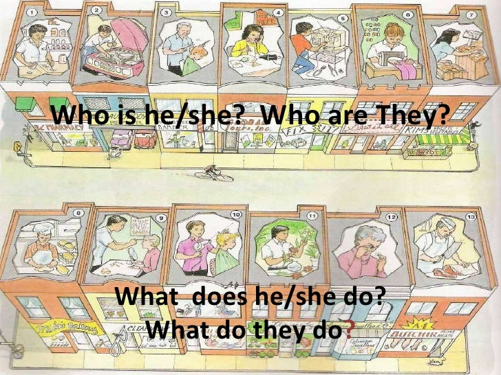 Who is he/she? Who are They?    What does he/she do?     What do they do?