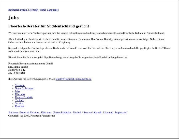 Bauherren Forum   Kontakt   Other Languages   Jobs Floortech-Berater für Süddeutschland gesucht Wir suchen motivierte Vert...