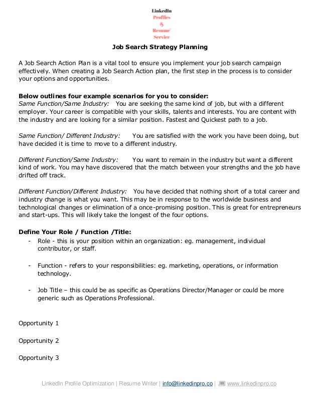 Job Search Action Plan 2020
