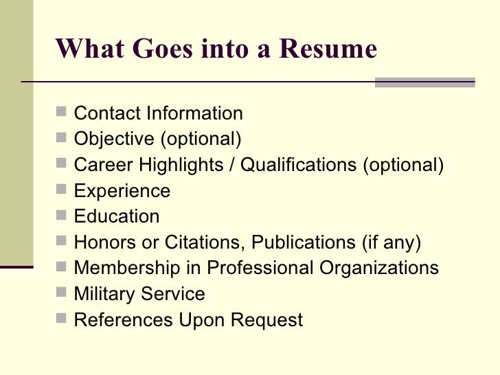 what goes into a resume - What Goes On A Resume Cover Letter