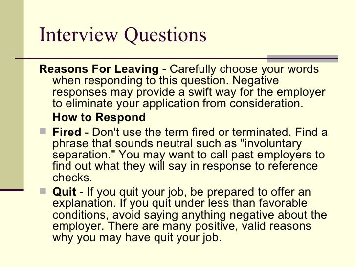 reasons of leaving a job