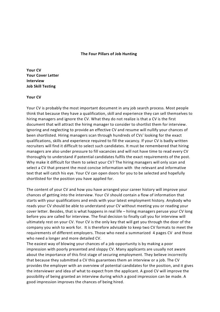 job hunting cover letter