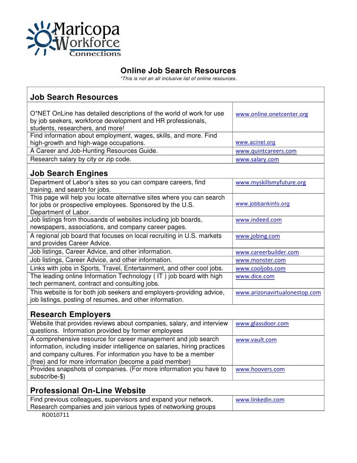 Online Job Search Resources                                 *This is not an all inclusive list of online resources.Job Sea...