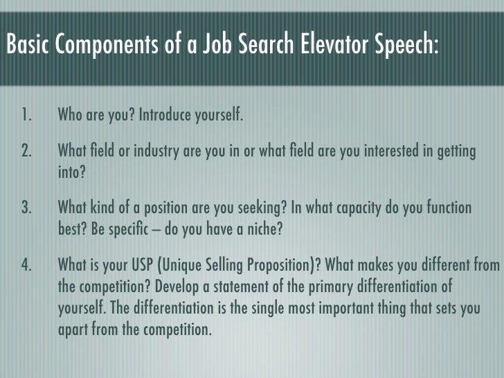 24. Basic Components Of A Job Search Elevator Speech: ...