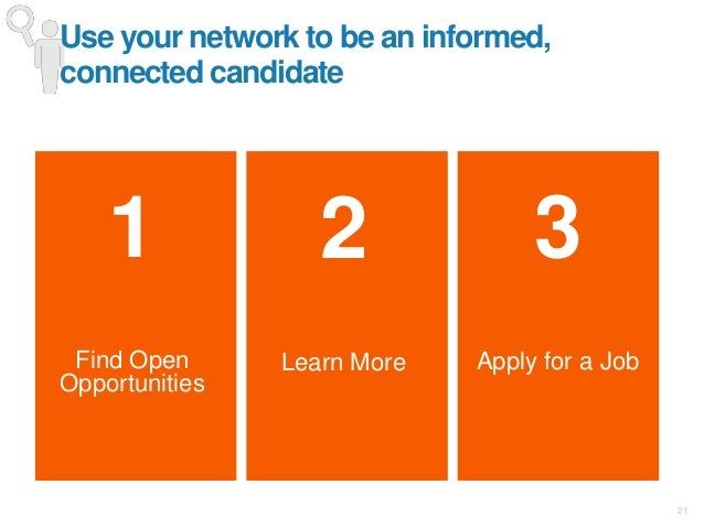 21 1 Find Open Opportunities 3 Apply for a Job Use your network to be an informed, connected candidate 2 Learn More
