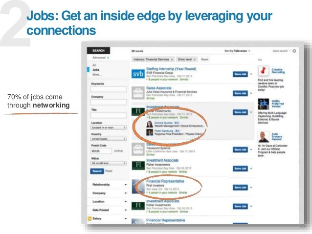 23 Jobs: Get an inside edge by leveraging your connections 70% of jobs come through networking
