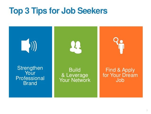 Strengthen Your Professional Brand Build & Leverage Your Network Find & Apply for Your Dream Job Top 3 Tips for Job Seeker...