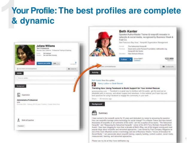 6 Your Profile: The best profiles are complete & dynamic