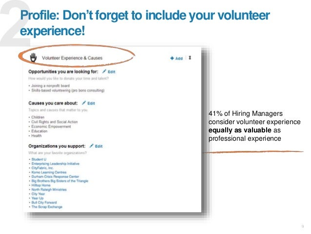 41% of Hiring Managers consider volunteer experience equally as valuable as professional experience 9 Profile: Don't forge...