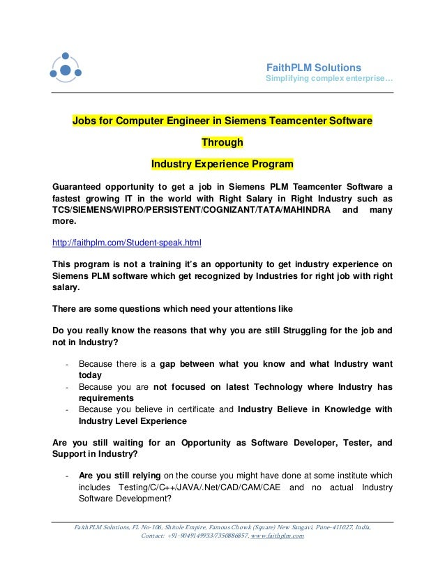 Jobs For Computer Engineer In Siemens Teamcenter Software Through Ind