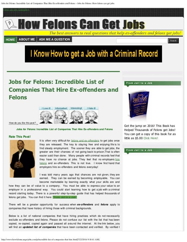 Jobs for felons incredible list of companies that hire ex