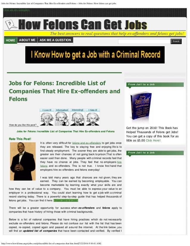 Work Opportunities for Convicted Felons - CareerStint