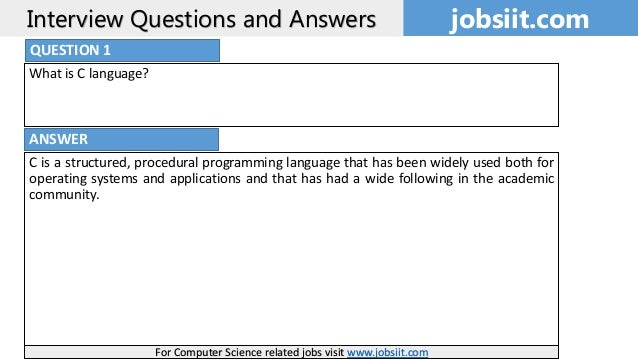 C programming Interview questions and answers: C interview ...