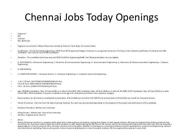 jobs in chennai today