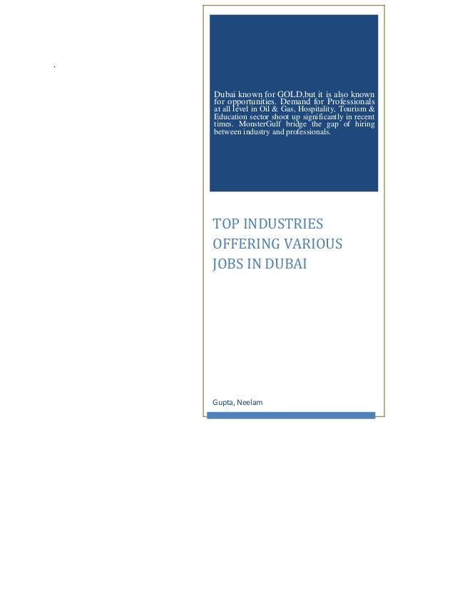 TOP INDUSTRIES OFFERING VARIOUS JOBS IN DUBAI