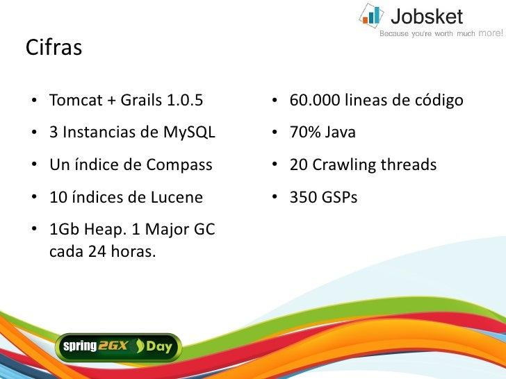 Cifras ●   Tomcat + Grails 1.0.5   ●   60.000 lineas de código ●   3 Instancias de MySQL   ●   70% Java ●   Un índice de C...