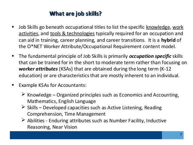 job skills and abilities