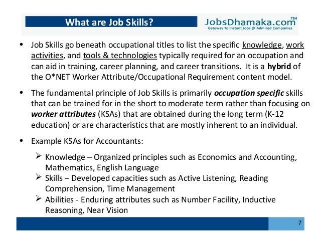 Understanding Job skills - Jobsdhamaka
