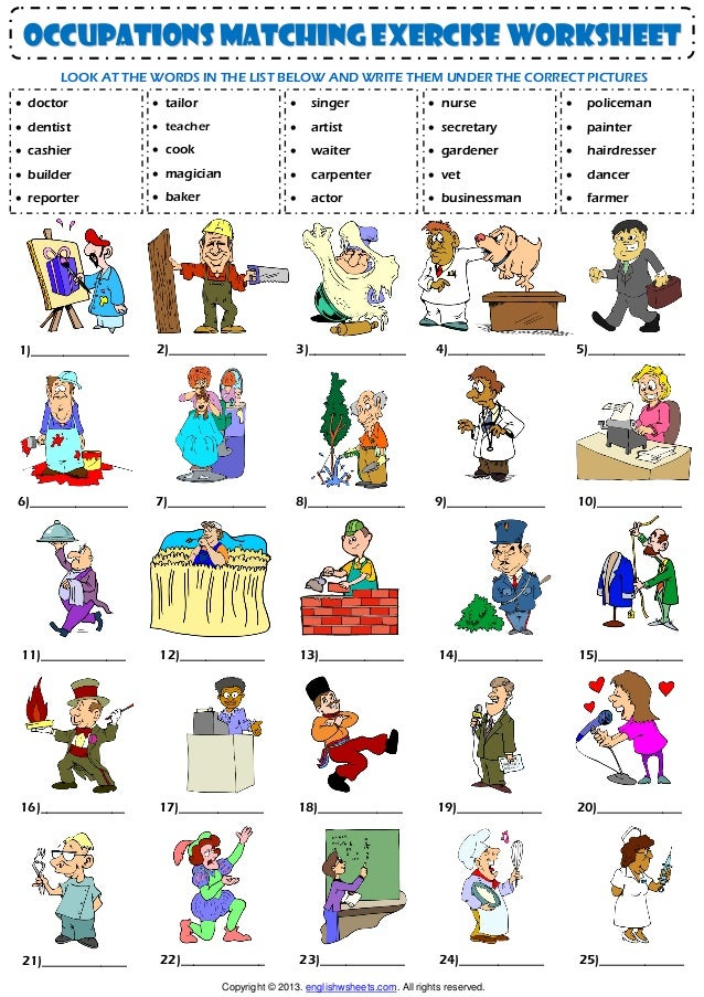 occupations matching exercise worksheet LOOK AT THE WORDS IN THE LIST BELOW AND WRITE THEM UNDER ...
