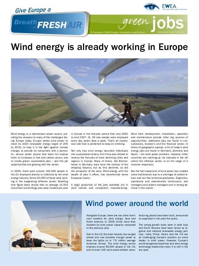 green jobs                                                                                         A European Wind Energy ...