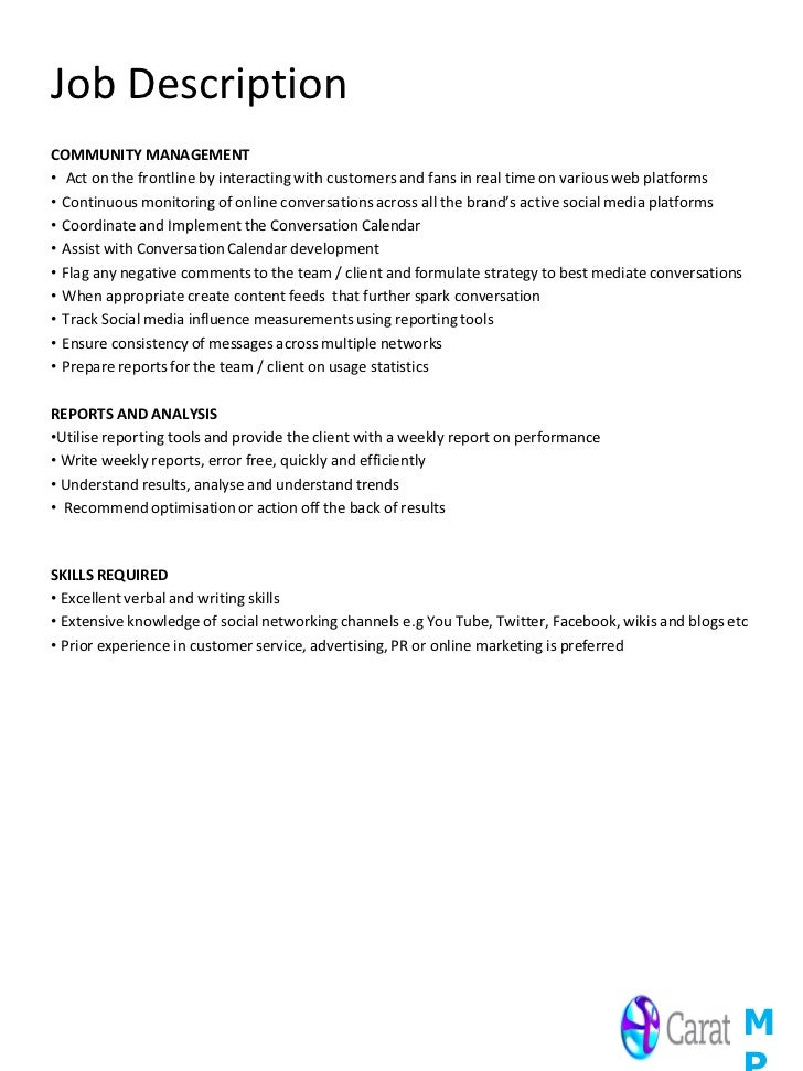 Job specs roles and responsibilities social media assistant – Social Media Marketing Job Description