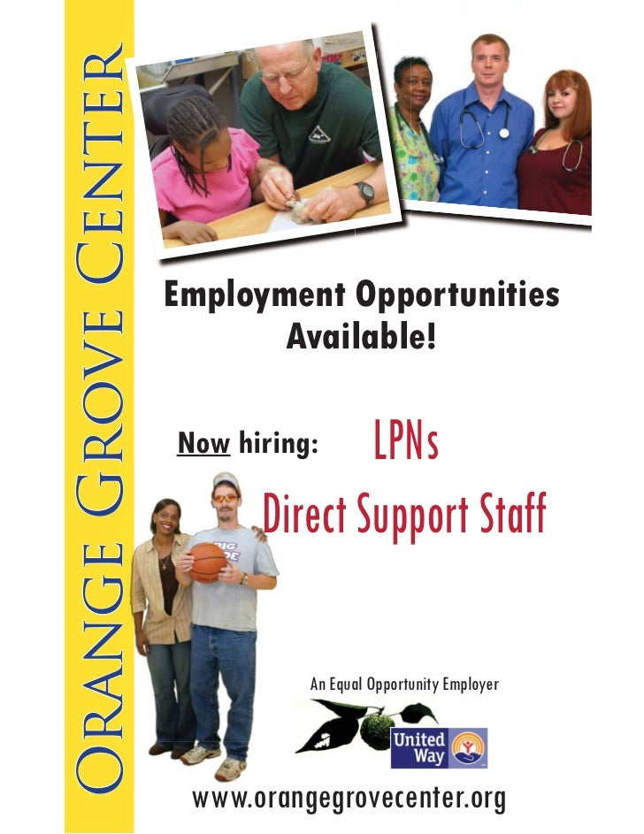Orange Grove Center                      Employment Opportunities                             Available!                  ...
