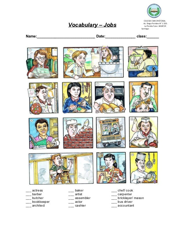 COLEGIO SAN CRISTOBAL                     Vocabulary – Jobs                          Av. Diego Portales N° 1.520.         ...