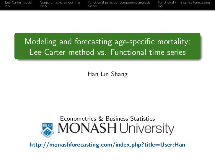 Lee-Carter model   Nonparametric smoothing   Functional principal component analysis   Functional time series forecasting ...