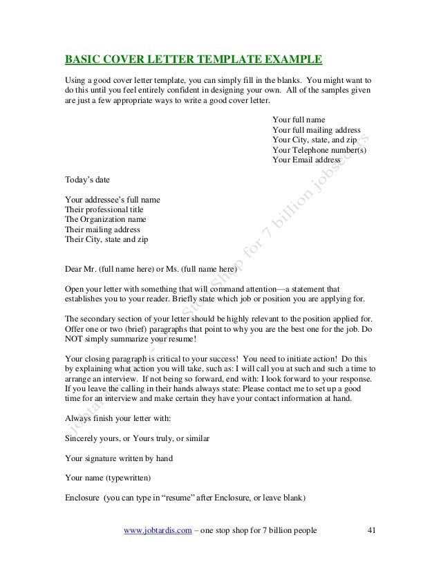 BASIC COVER LETTER TEMPLATE ...  Basic Cover Letter Template
