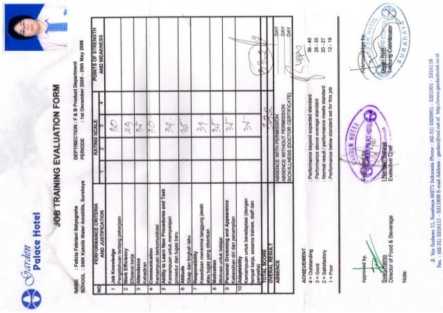 Job Training Evaluation Form – On the Job Training Evaluation Form