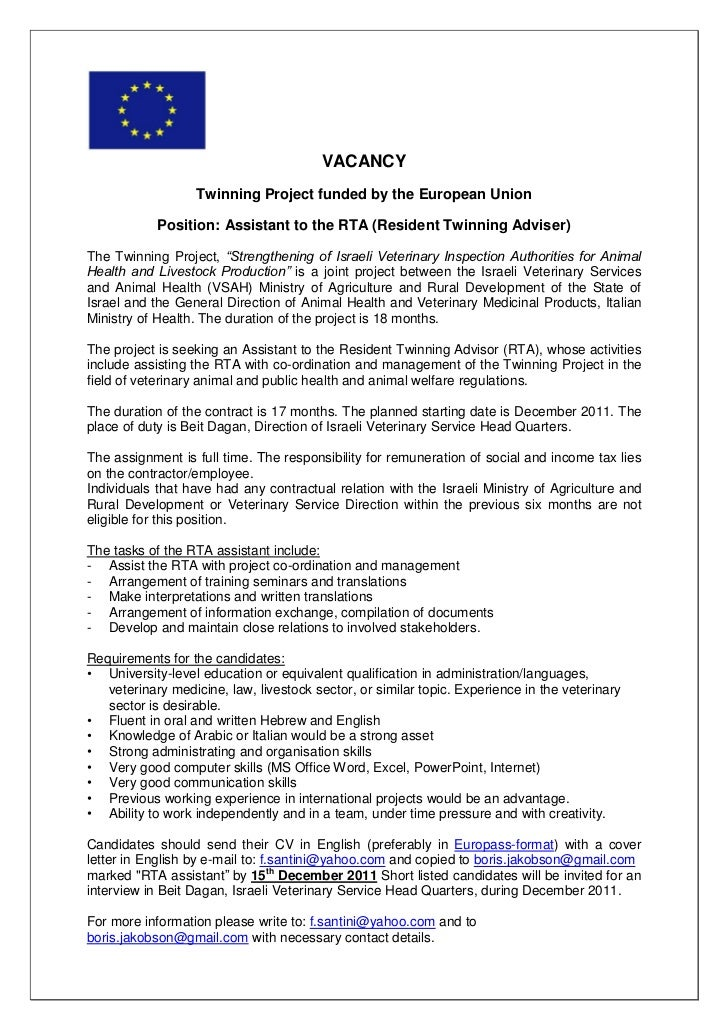 Job vacancy - Assistant to resident twinning advisor