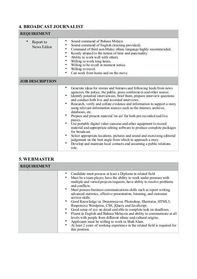 Job vacancy at CCSB – Job Description for Webmaster