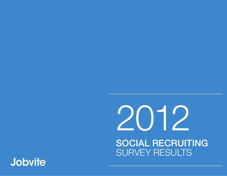 2012SOCIAL RECRUITINGSURVEY RESULTS