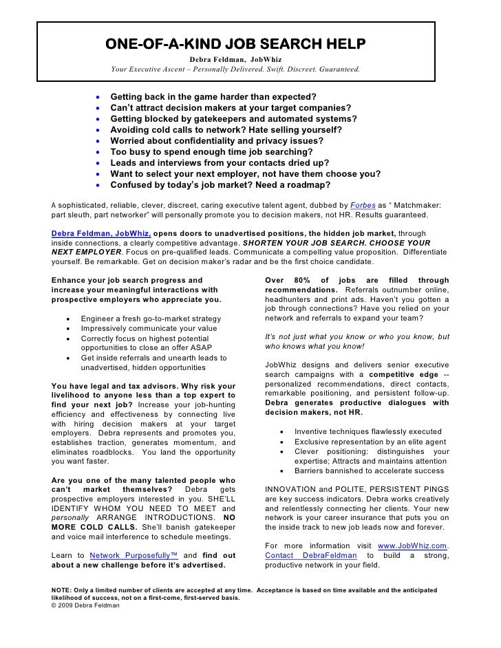 ONE-OF-                  ONE-OF-A-KIND JOB SEARCH HELP                                           HELP                     ...