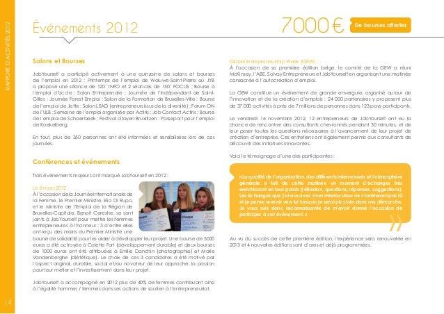 Job yourself rapport d 39 activit s 2012 fr for Salon de l emploi bruxelles